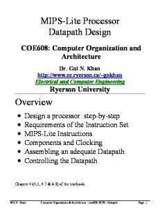 MIPS-Lite Processor Datapath Design