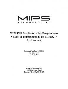 MIPS32 Architecture For Programmers Volume I: Introduction to the MIPS32 Architecture