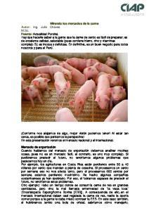 Mirando los mercados de la carne Ing. Julio Chaves M.Sc