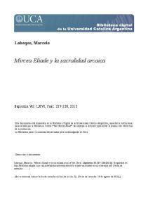 Mircea Eliade y la sacralidad arcaica