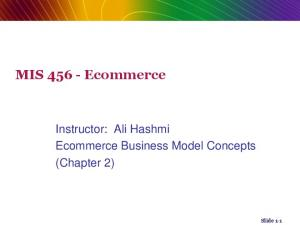 MIS Ecommerce. Instructor: Ali Hashmi Ecommerce Business Model Concepts (Chapter 2) Slide 1-1