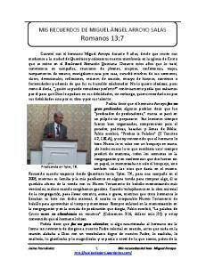 MIS RECUERDOS DE MIGUEL ÁNGEL ARROYO SALAS Romanos 13:7