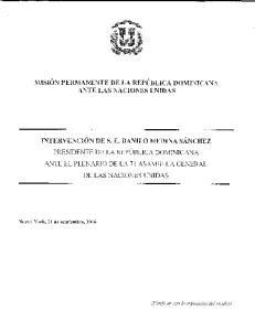 MISION PERMANENTE DE LA REPUBLICA DOMINICANA ANTE LAS NACIONES LTNIDAS