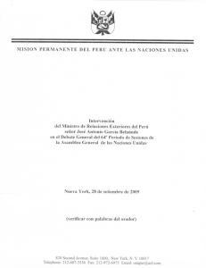 MISION PERMANENTE DEL PERU ANTE LAS NACIONES UNIDAS