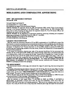 MISLEADING AND COMPARATIVE ADVERTISING