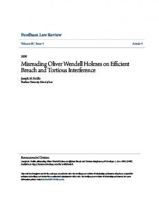 Misreading Oliver Wendell Holmes on Efficient Breach and Tortious Interference