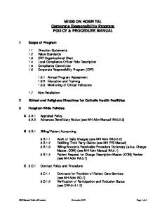 MISSION HOSPITAL Corporate Responsibility Program POLICY & PROCEDURE MANUAL