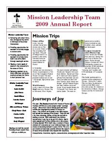Mission Leadership Team 2009 Annual Report