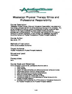 Mississippi Physical Therapy Ethics and Professional Responsibility