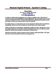 Missouri Baptist Women Speaker s Listing