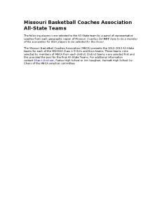 Missouri Basketball Coaches Association All-State Teams