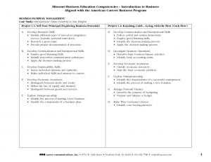 Missouri Business Education Competencies Introduction to Business Aligned with the American Careers Business Program