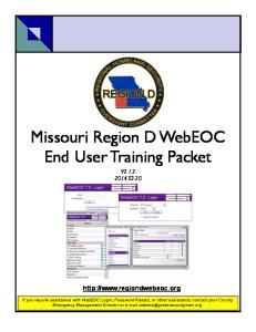 Missouri Region D WebEOC End User Training Packet