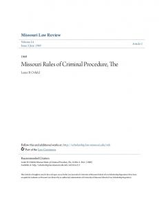 Missouri Rules of Criminal Procedure, The