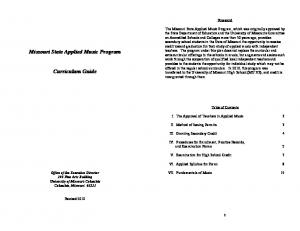Missouri State Applied Music Program. Curriculum Guide. Foreword