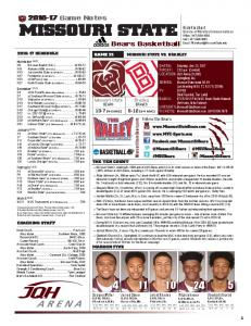 MISSOURI STATE. Game Notes. Bears Basketball. Bradley. Missouri State