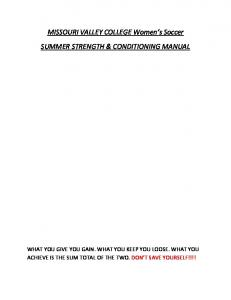 MISSOURI VALLEY COLLEGE Women s Soccer SUMMER STRENGTH & CONDITIONING MANUAL