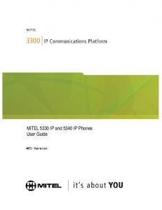 MITEL 5330 IP and 5340 IP Phones User Guide