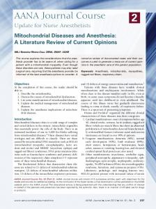 Mitochondrial Diseases and Anesthesia: A Literature Review of Current Opinions