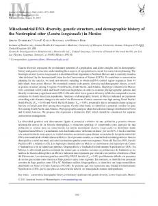 Mitochondrial DNA diversity, genetic structure, and demographic history of the Neotropical otter (Lontra longicaudis) in Mexico