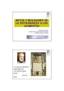 MITOS Y REALIDADES DE LA INTOLERANCIA A LOS ALIMENTOS