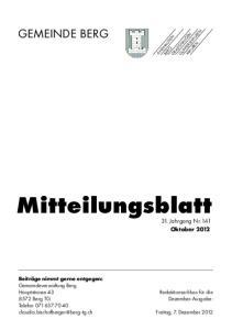 Mitteilungsblatt 31. Jahrgang Nr. 141 Oktober 2012