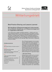 Mitteilungsblatt. Best Practice Sharing und Lessons Learned