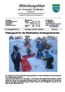 Mitteilungsblatt der Gemeinde Waidhofen Mitglied der Verwaltungsgemeinschaft Schrobenhausen Landkreis Neuburg-Schrobenhausen