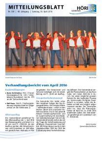 MITTEILUNGSBLATT Nr Jahrgang Samstag, 30. April 2016