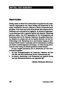 MITTEL-OST-EUROPA. Nachrichten