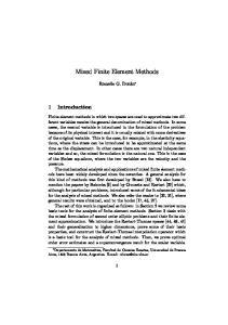 Mixed Finite Element Methods