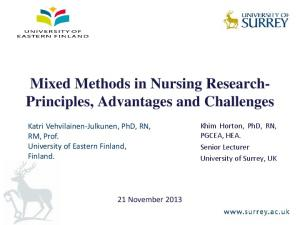 Mixed Methods in Nursing Research- Principles, Advantages and Challenges