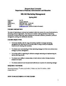MK 464 Marketing Management