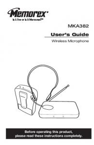 MKA382. User s Guide. Wireless Microphone. Before operating this product, please read these instructions completely