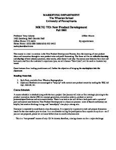 MKTG 753: New Product Development Fall 2002