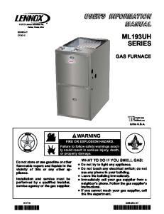 ML193UH SERIES GAS FURNACE WARNING