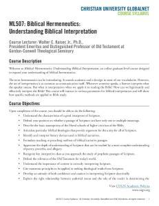 ML507: Biblical Hermeneutics: Understanding Biblical Interpretation