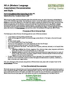 MLA (Modern Language Association) Documentation and Style