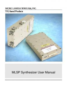 MLSP Synthesizer User Manual