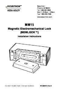 MM15. Magnetic Electromechanical Lock (MEMLOCK ) Installation Instructions