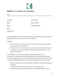MMMC 4211 Media Law and Ethics
