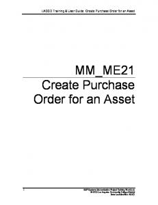 MM_ME21 Create Purchase Order for an Asset