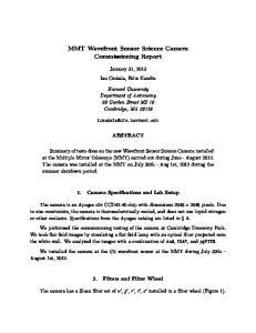 MMT Wavefront Sensor Science Camera Commissioning Report
