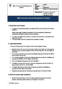 MMU Hazardous Waste Management Procedure