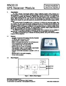 MN3310 GPS Receiver Module