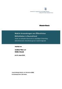 Mobile Anwendungen von Öffentlichen Bibliotheken in Deutschland