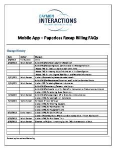 Mobile App Paperless Recap Billing FAQs