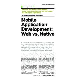Mobile Application Development: Web vs. Native