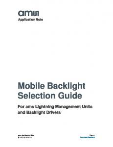 Mobile Backlight Selection Guide