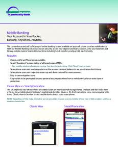 Mobile Banking Your Account In Your Pocket. Banking. Anywhere. Anytime